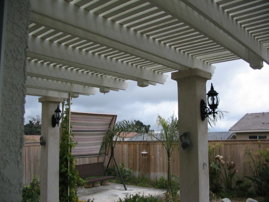 Wood Lattice Patio Cover With Custom Stucco Columns Yucaipa Ca.