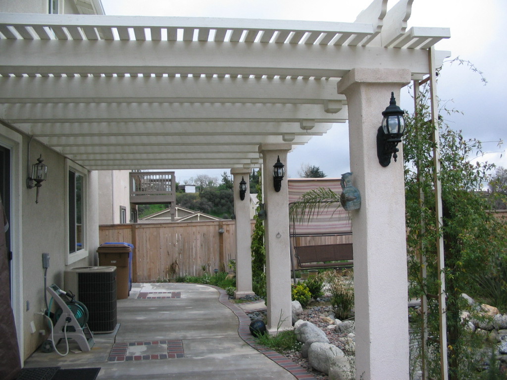 Lattice Patio Cover With Solid Stucco Columns Yucaipa Ca.