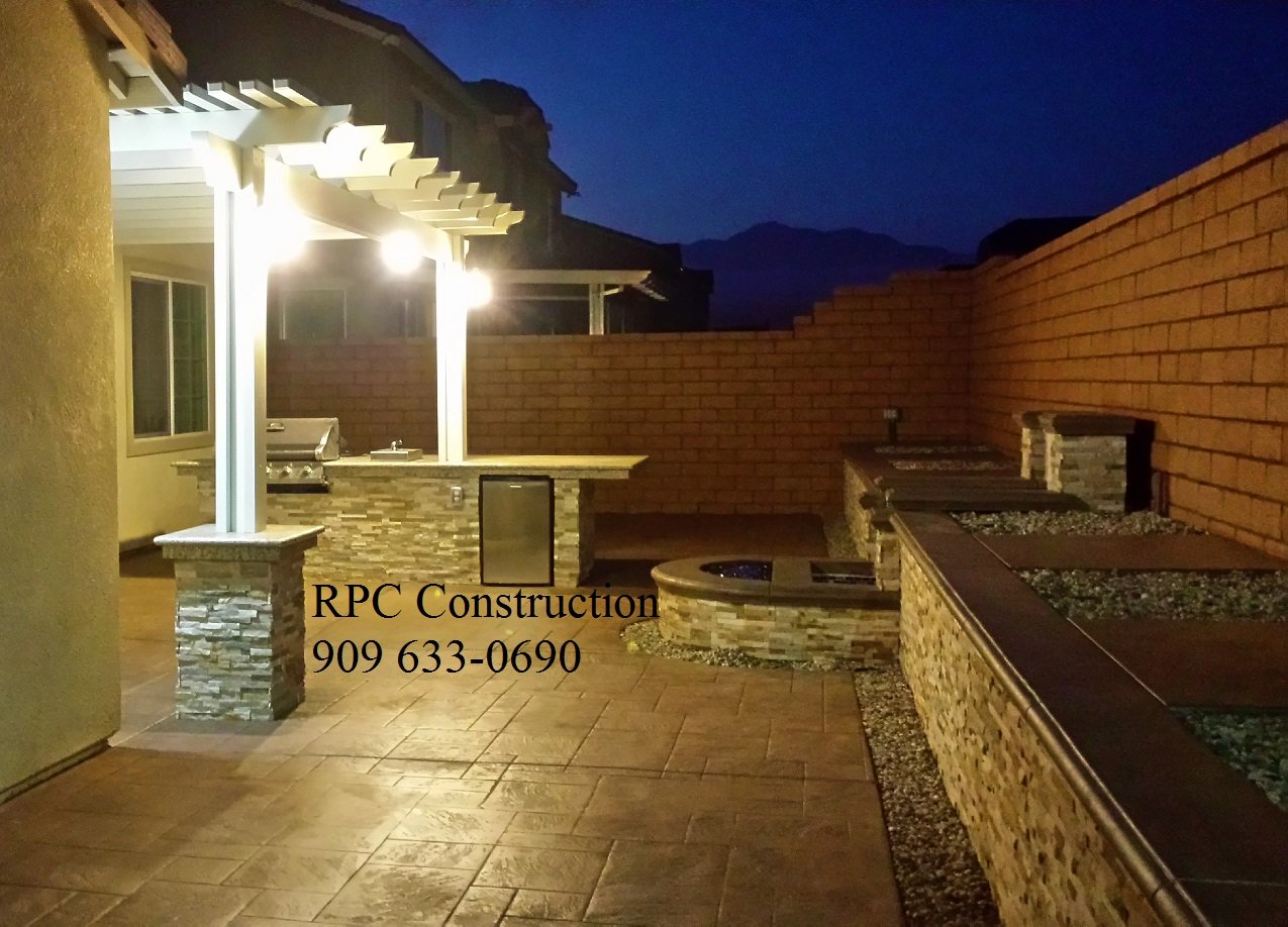 Hardscape BBQ Island Water And Fire Feature California