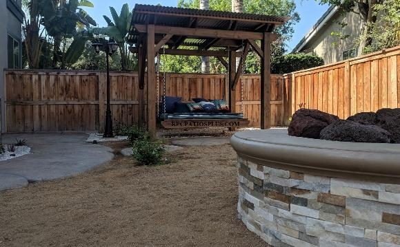 Wood Pergola with Hanging Daybed Sothern California