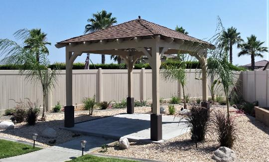 California Square Gazebo Solid Roof with Shingles