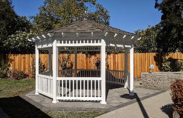 14' ft. Gazebo Wood Roof with Vinyl Walls California
